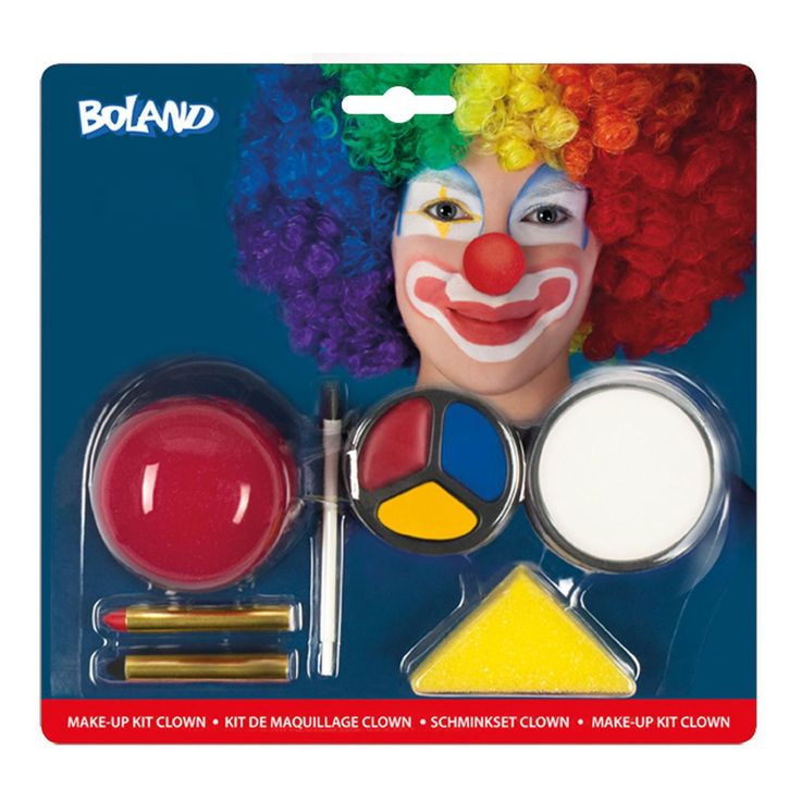 fancydressvip - Basic Clown Make-up Kit Face Paint with Red Nose, £4.99 (http://www.fancydressvip.com/accessories/face-paint-make-up/basic-clown-make-up-kit-face-paint-with-red-nose/)