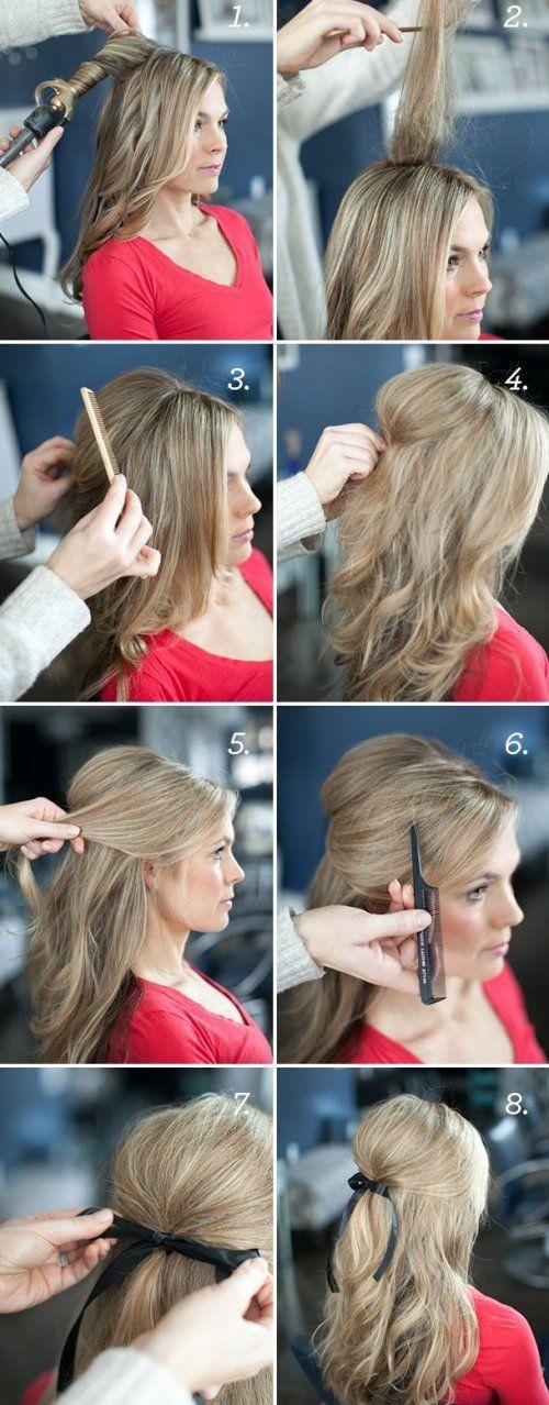 Peinado facil semi recogido con volumen y lazo paso a paso.