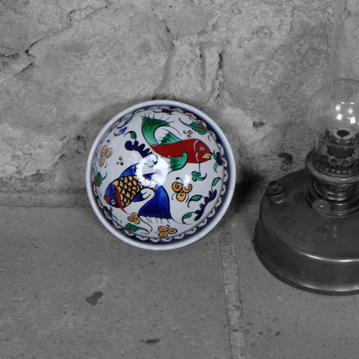 #bol en #céramique d'#Iznik avec #déco #poisson