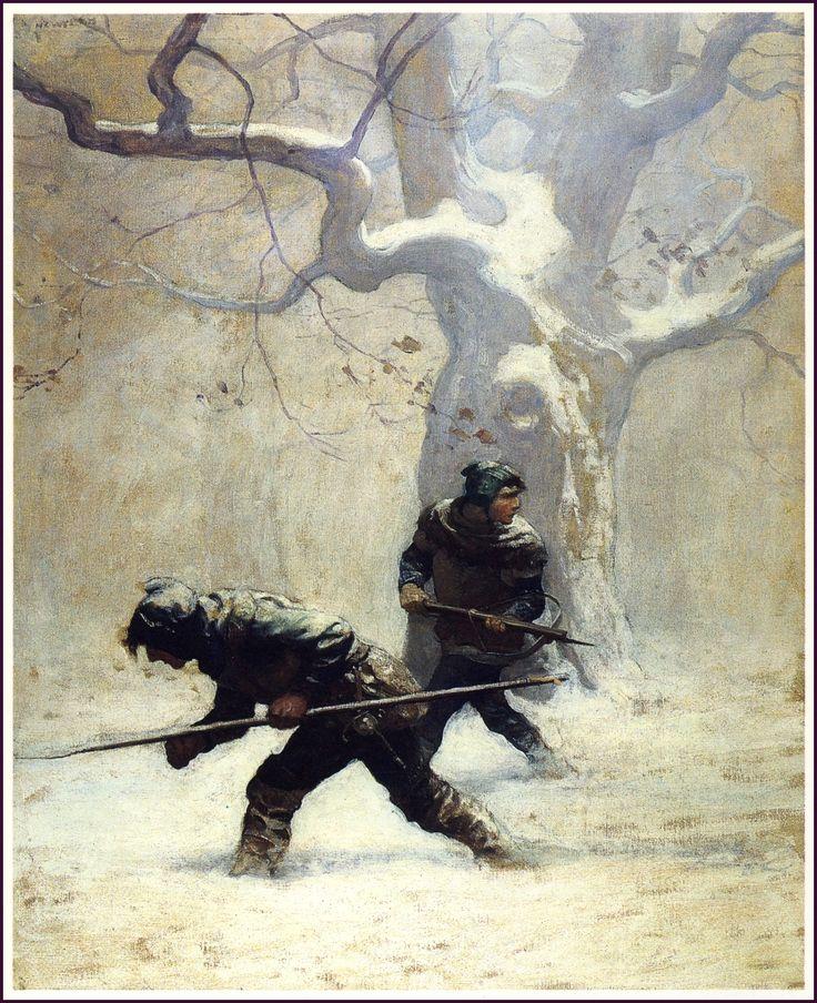 """The Black Arrow"", de Robert Louis Stevenson. 'He...studied out their path"" (1916) #Ilustración de N.C. Wyeth"