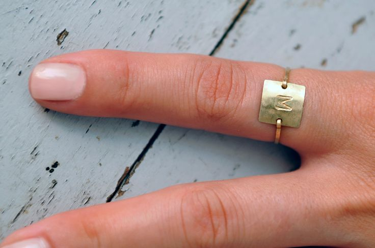 Square Letter Initial ring. 14kt gold filled
