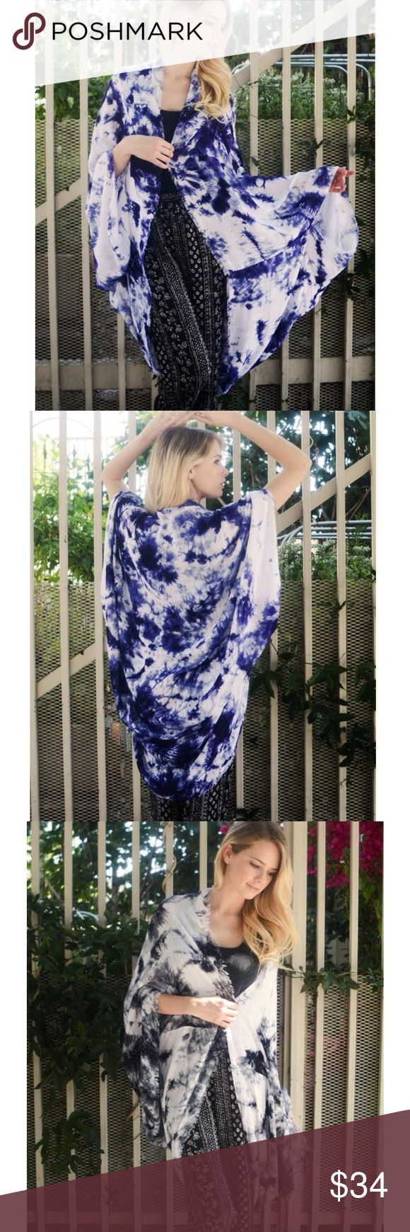 """""""Looking Glass"""" Kimono Scarf Cardigan Cocoon kimono scarf cardigan. One size fits most. Available in black and blue. This listing is for the BLUE. Brand new Bare Anthology Jackets & Coats"""