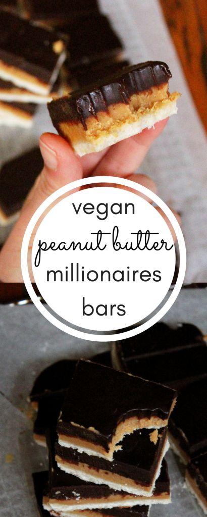 vegan six ingredient peanut butter millionaires bars