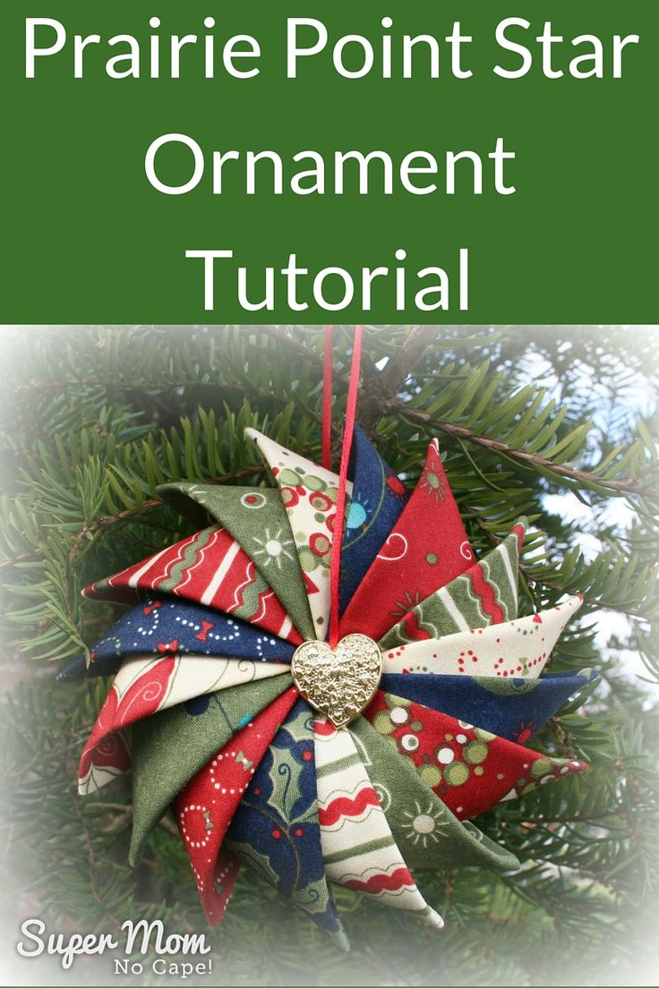 Prairie Point Star Ornament Tutorial on Super Mom - No Cape! Made using charm squares. (Directions for different sized squares included.)