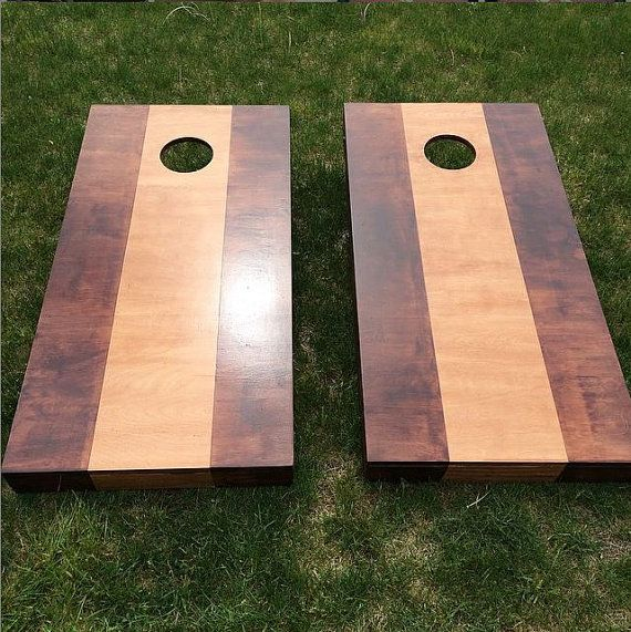 two toned wood stained corn hole boards light dark contrast