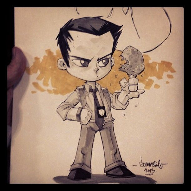 Chibi Tony Chu from the CHEW comic. I loved this con sketch request. Wish I had taken a better pic, but here it is.