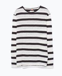 ストライプリネンTシャツ-すべてを見る-Tシャツ-メンズ   ZARA 日本