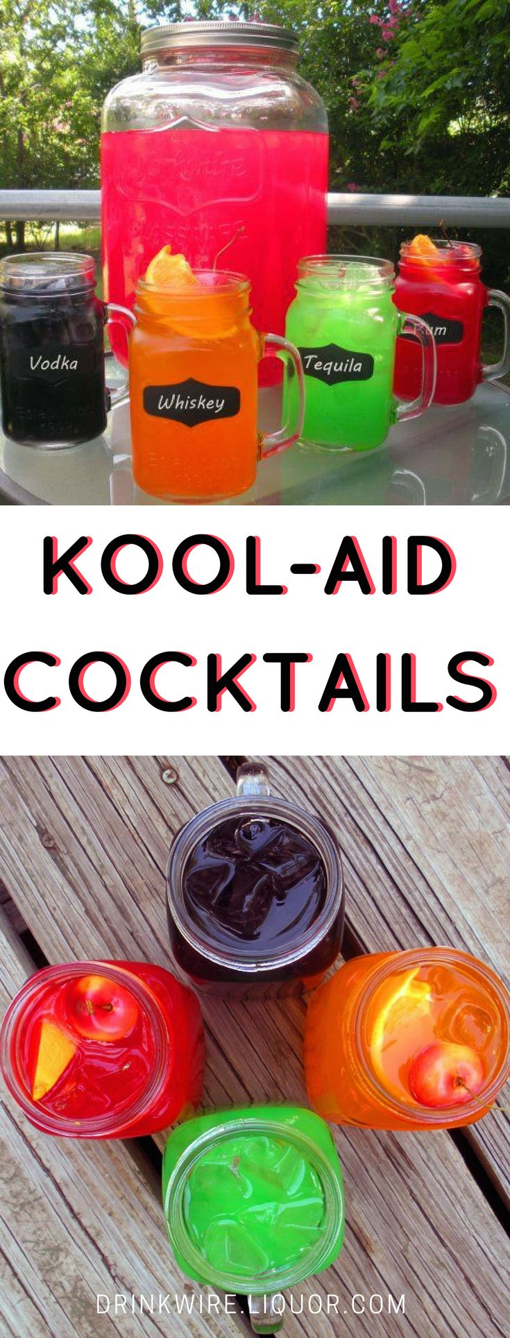 There's nothing like a childhood favorite transformed into a boozy adult treat! Kool-Aid pairs with all kinds of spirits to make the most refreshing alcoholic drinks! #cocktaildrinks