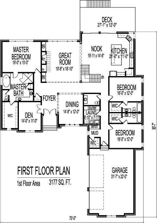 1 story 3 bedroom house plans exteriors and floorplans pinterest bedrooms house and car - One level house plans with basement paint ...