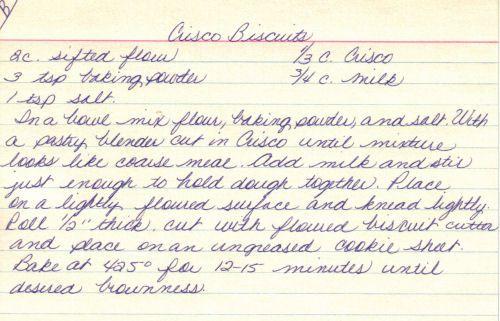 Handwritten Recipe For Crisco Biscuits
