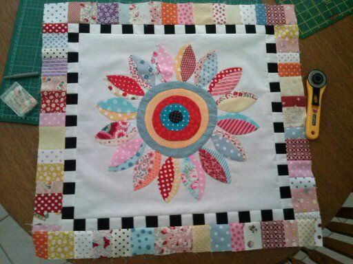 "A block for another ""0"" quilt for one of the girls.  Needleturn applique. Pattern called Dotty Dahlia."