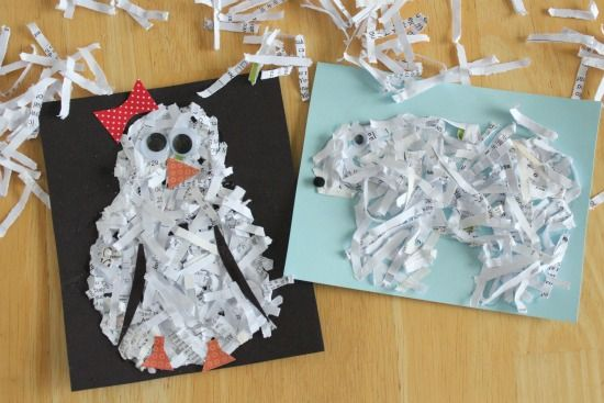 Pictures made with shredded paper, which is never hard to find around here!Ideas, Winter Art, Preschool Animal Crafts, Paper Animal, For Kids, Animal Art And Crafts, Kids Crafts For Winter, Paper Crafts, Shredded Paper