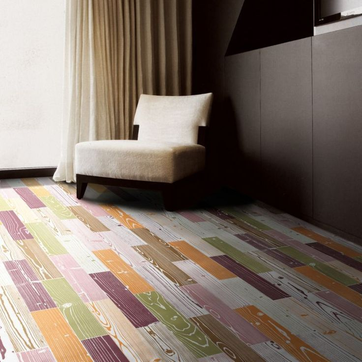 Awesome colourful floor using coloured timber tiles available at Signorino Tile Gallery