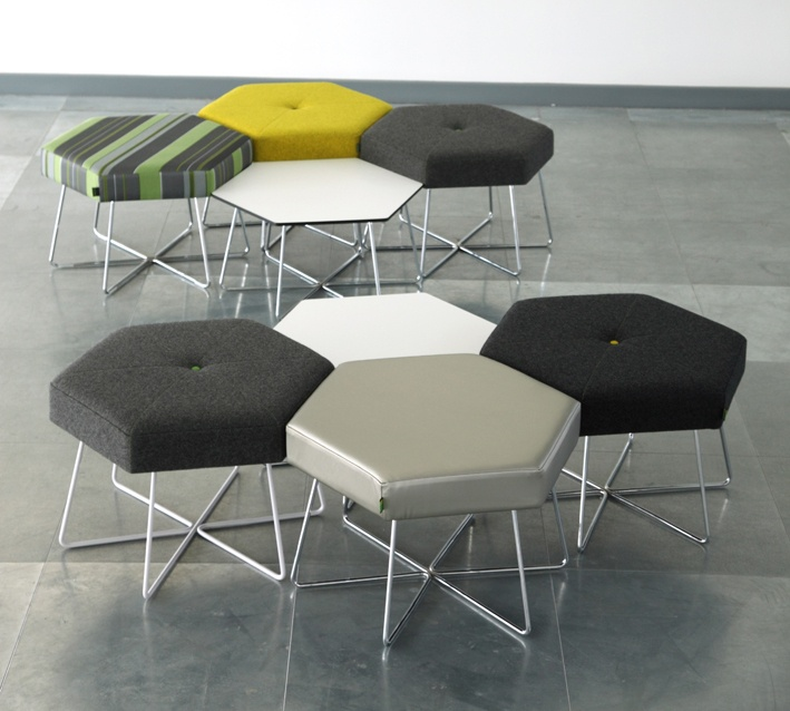 Hex stools for modern seating honeycomb hexagon for Funky modern furniture