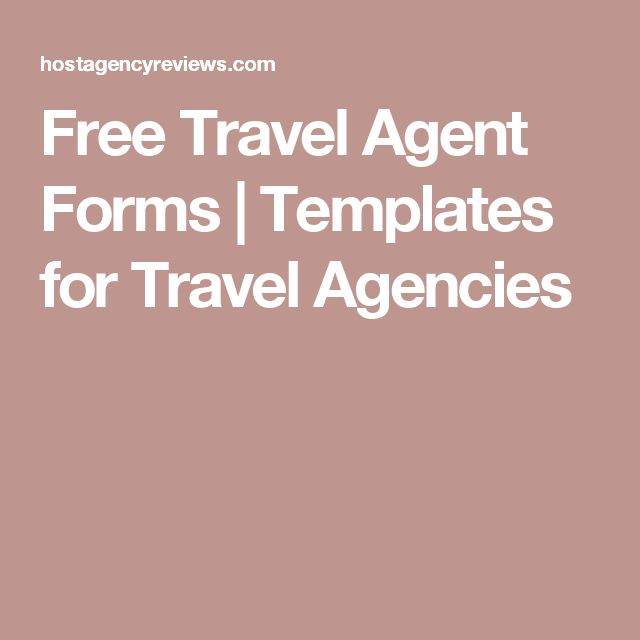 Free Travel Agent Forms | Templates for Travel Agencies