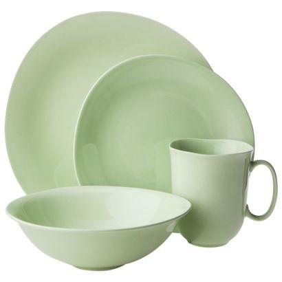 16 Piece Blueprint Porcelain Dinnerware Set - Green
