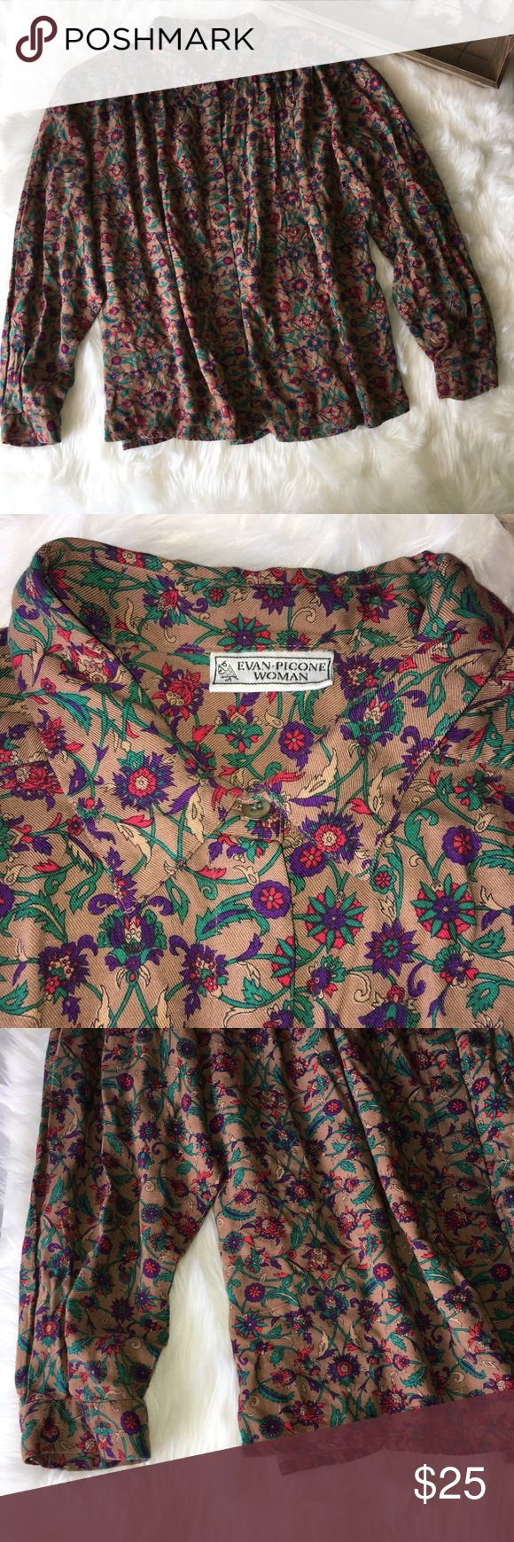 Evan Picone Brown Floral Button Down Blouse Stunning Evan Picone women's brown vine Floral print button down blouse top in excellent preowned condition size medium Evan Picone Tops Button Down Shirts