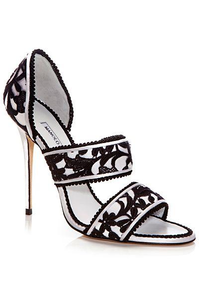 Manolo Blahnik Black & White Sandal Spring-Summer 2014 #Manolos #Shoes #Heels