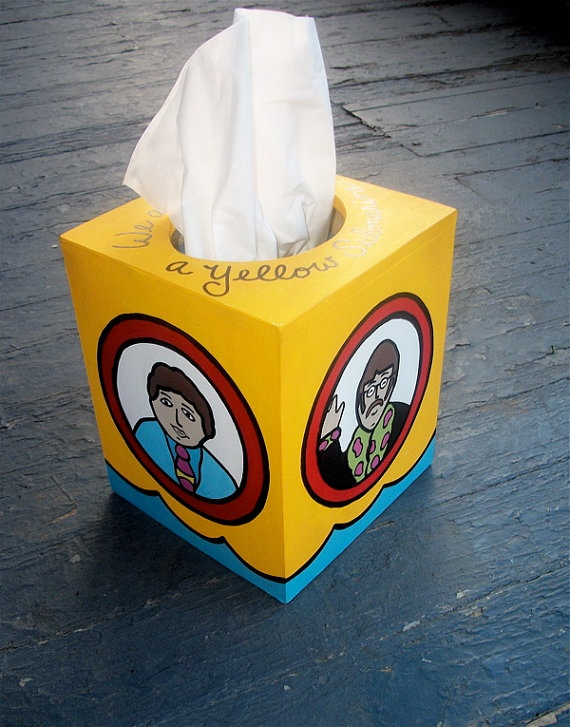 Yellow Submarine Beatles Tissue Box Cover Hand by DebbieIsAdopted, $38.00