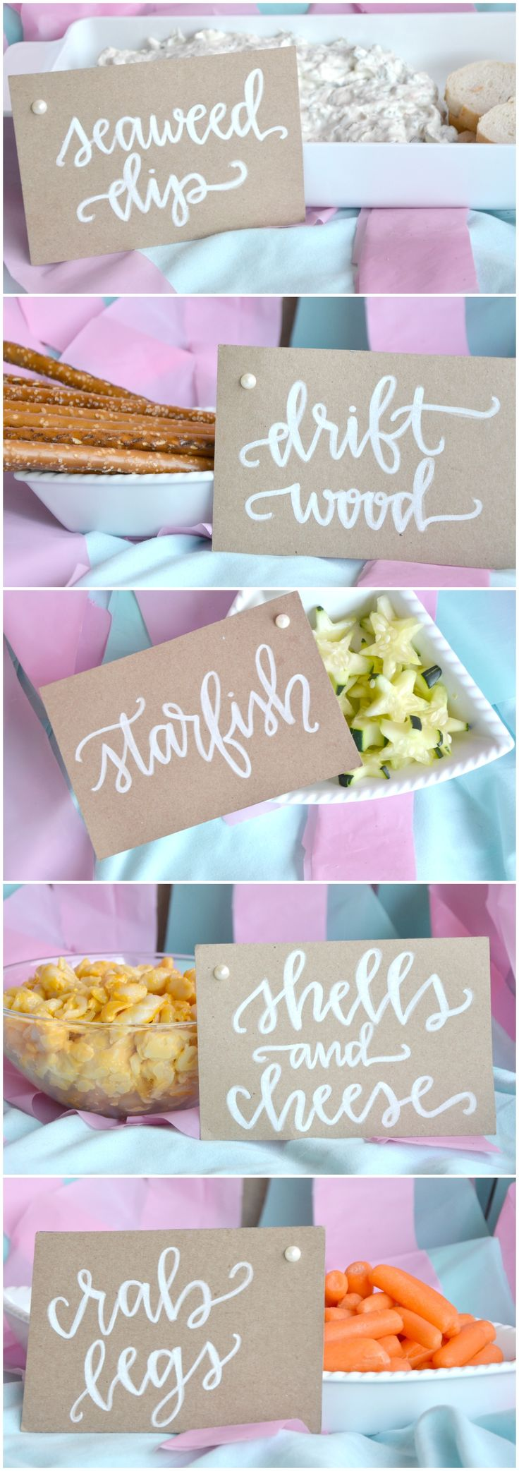 First Birthday Mermaid Party food is perfect for a mermaid themed party! The custom food cards by Alexis + Bolt are a perfect way to display your party snacks!