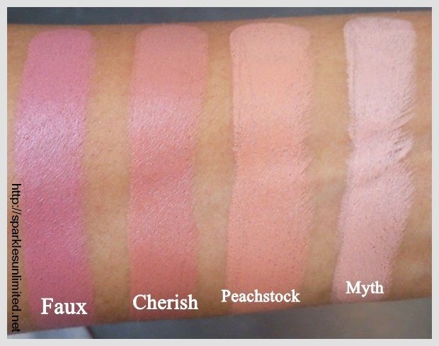 MAC Lipstick Swatches, MAC Faux Lipstick, MAC Cherish Lipstick, MAC Peachstock Lipstick, MAC Myth Lipstick