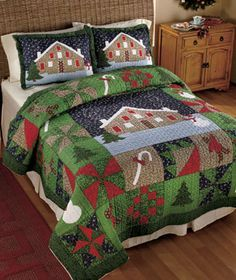"""Gingerbread Bedding Collection will keep you as warm as a cookie right out of the oven. The vermicelli-stitched Quilt features holiday symbols such as snowmen, Christmas trees, gingerbread men, candy canes and more. Full/Queen Quilt, 86"""" sq. King Qui"""