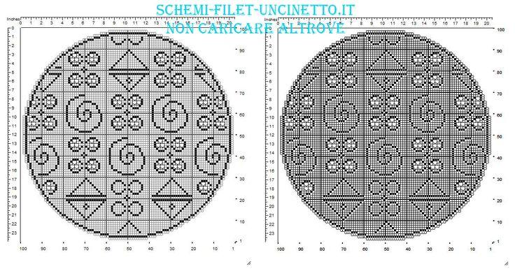 12 Best Schemi Centrini Uncinetto Filet Rotondi Images On