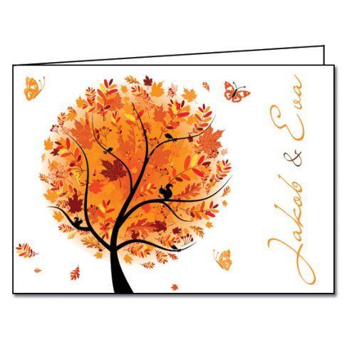 Trouwkaart: Boom van Geluk: Herfst (Dubbel)