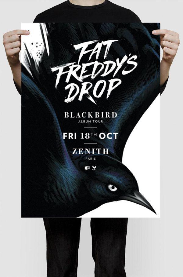 Great tour poster for Fat Freddy's Drop - BLACKBIRD designed by Wellington illustrator Gina Kiel, via Behance