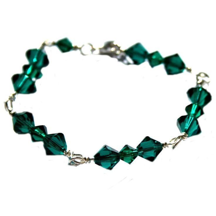Sterling Silver Wire Linked Bracelet of Emerald Crystal by DornanDesigns