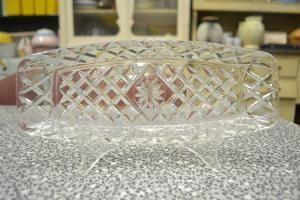 Vintage Antique glassware serving tray dish glass.