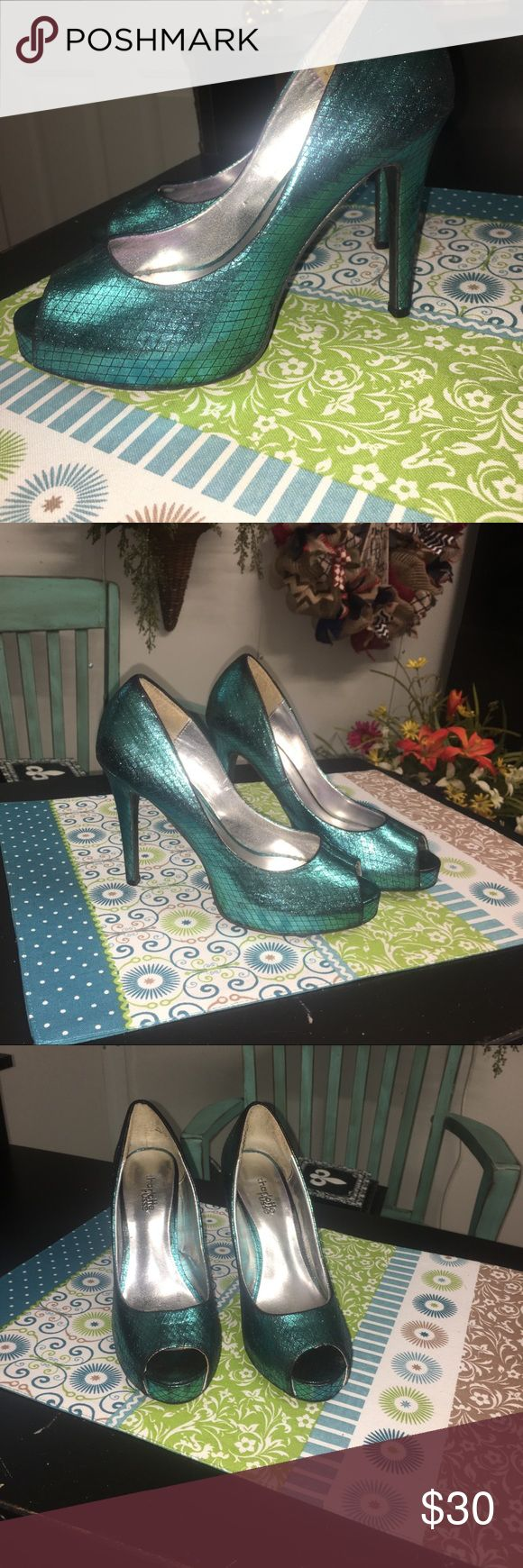 Turquoise Charlotte Russe High heels! Worn once, turquoise, & size 7! Charlotte Russe Shoes Heels