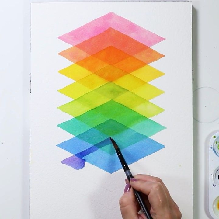 I Love The Transparency Of Watercolors For These Stacked Diamonds