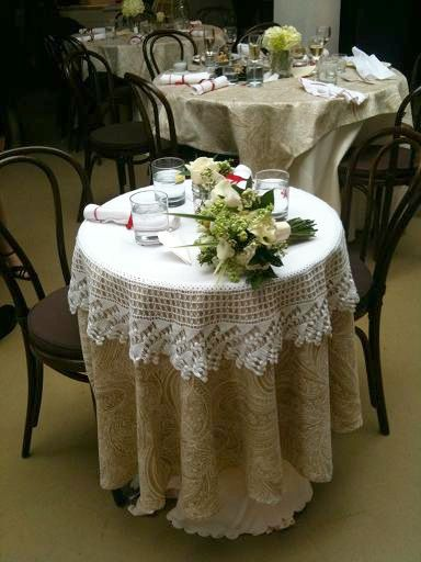 Indoor Shabby Chic Wedding Country Decor Themed Venue Crochet Table Topper Pearls And Lace Pinterest
