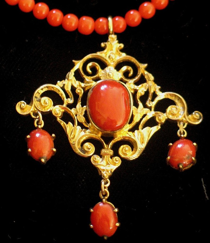 Victorian coral necklace with girandole coral pendant from uchizonogallery on Ruby Lane