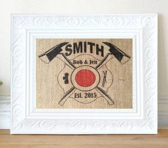 Personalized Firefighter Gift Man Cave Wall Art Gifts For Men Wedding Gift Firefighter Decor
