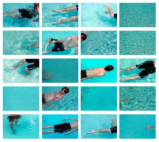 """Man, Water, Pool""  David Hockney Emulation by Megan Saul"