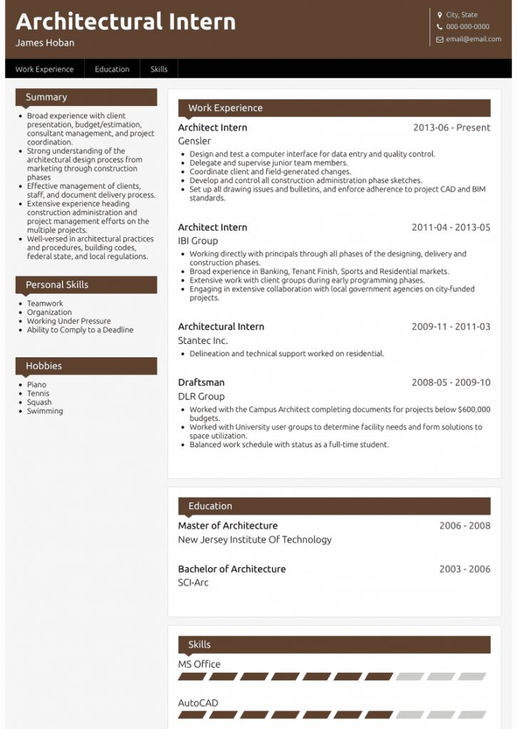 Architectural Resume For Internship 2021 Architecture Design Process Education Skills Internship