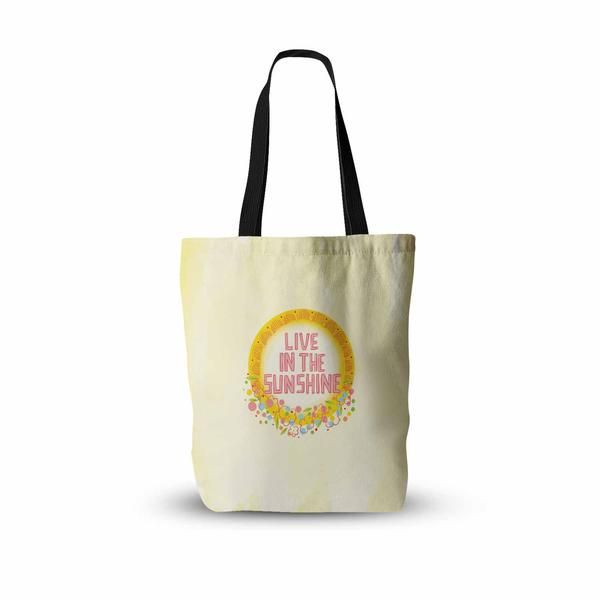 """Yenty Jap """"Live In The Sunshine"""" Yellow Pink Watercolor Everything Tote Bag"""