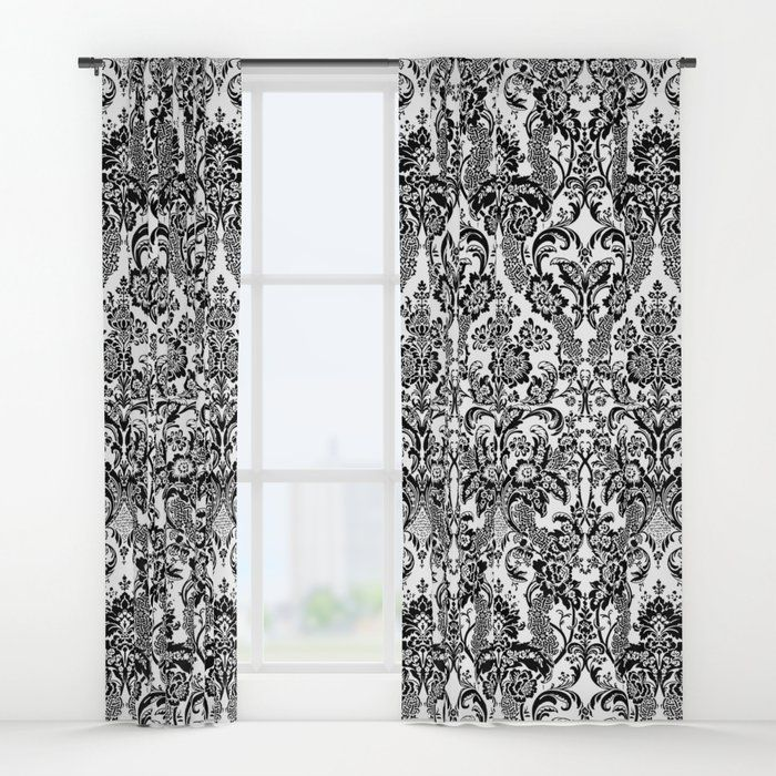 Damask Black And White Window Curtains (With Images
