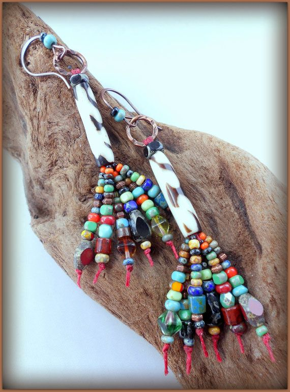 Long brightly colored beaded dangle earrings, Boho-casual, by Two Trees Studio at Etsy, $27.00.