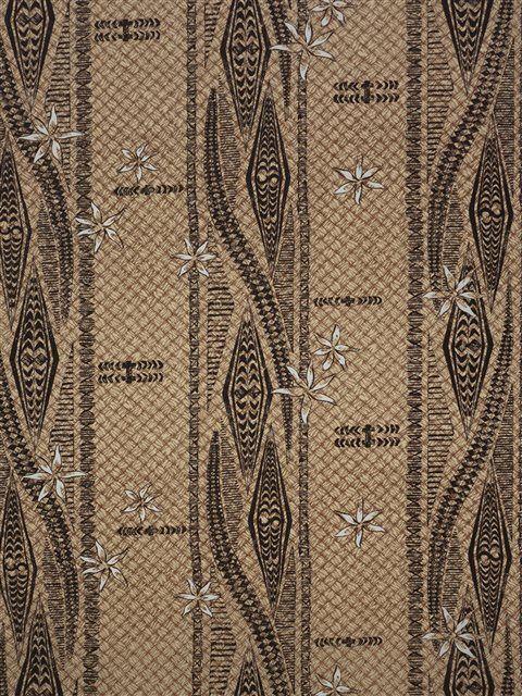 Tiare& Tapa Lei Panel Tan Poly Cotton WU-15-18