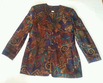 Vintage Retro Geoff Bade Ladies Jacket 90s Formal Evening Colorful Glam Pit 46cm