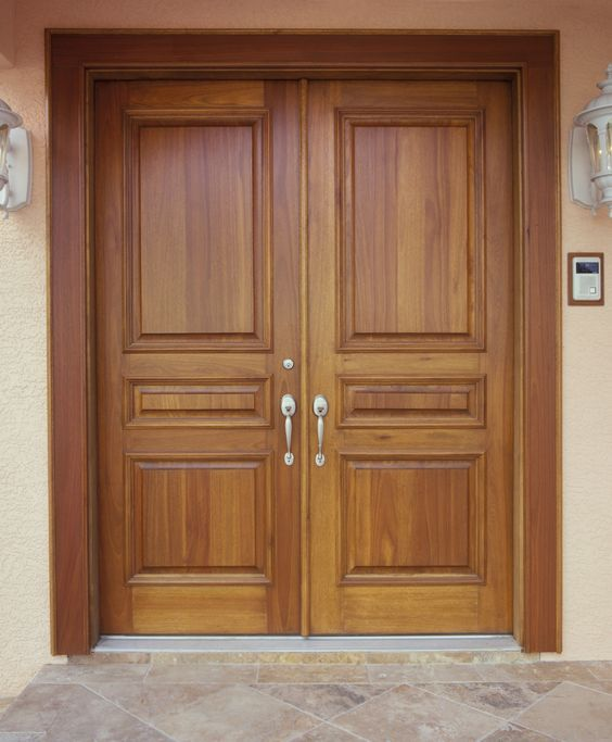 Solid wood exterior entry doors home design for Double door house entrance
