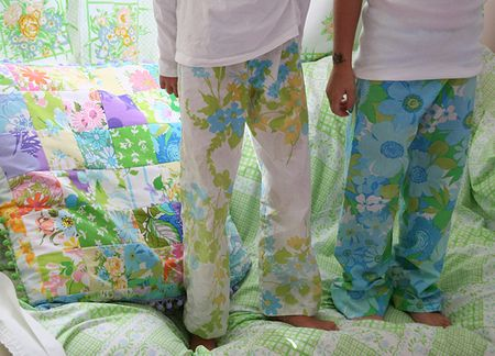 I love the PJ's from vintage sheets - the pillow... the bedding...  I just love it ;0)