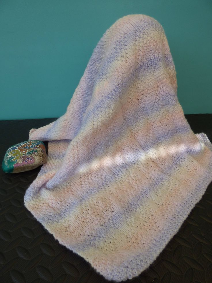 Excited to share the latest addition to my #etsy shop: Pram and Cot Blanket - Hand Knitted Original in baby pastel shades...  the stone is not for sale!. http://etsy.me/2FivomQ #housewares #bedroom #bedding #striped #no #rectangular #pastel #pink #blue