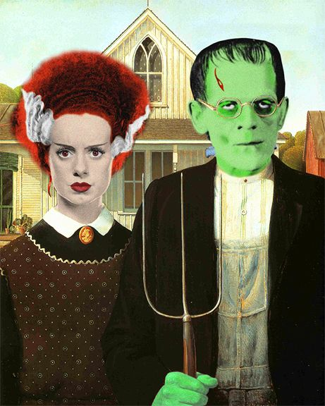 american gothic, frankenstein style--place holder for next halloween. @Sarah Tippetts Baugh  and I would rock the american gothic, maybe not so frankenstein.