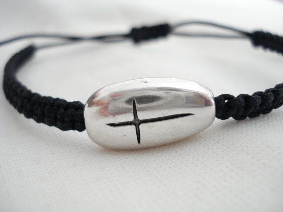 Mens bracelet Silver cross bracelet Unique Martyrika for by Poppyg