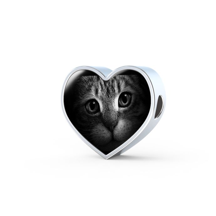 Innocent adorable cat animal heart charm only