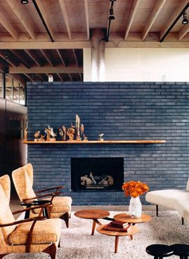 navy blue brick fireplace